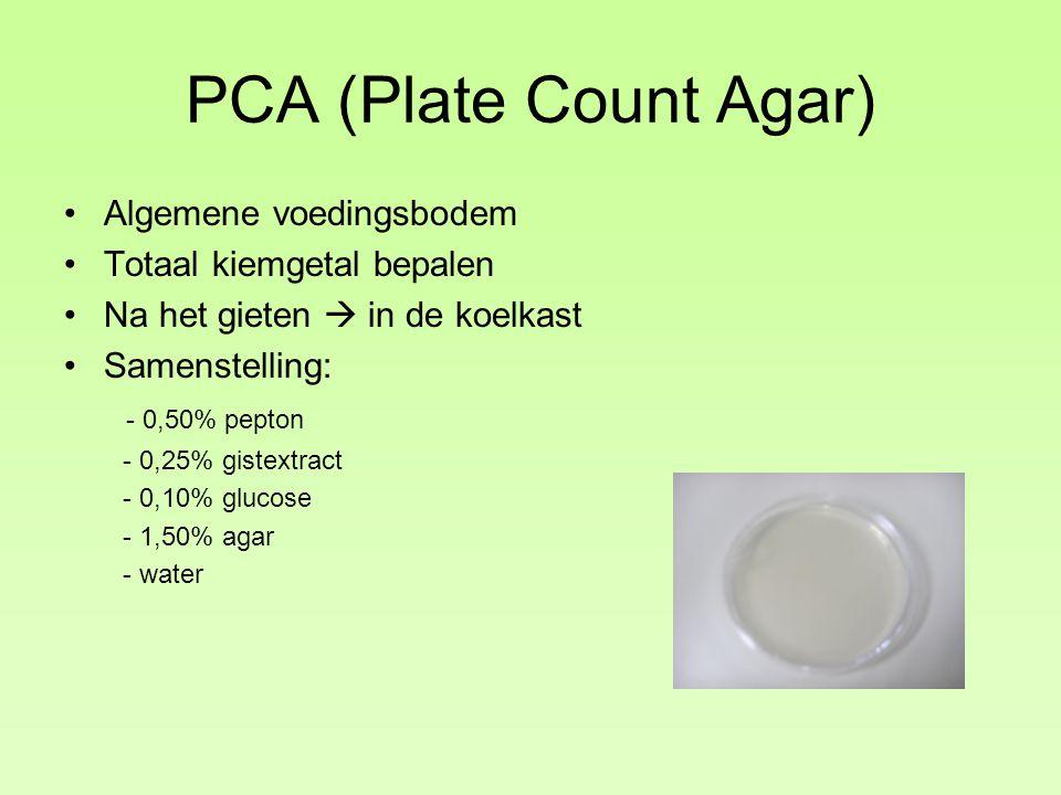 PCA (Plate Count Agar) Algemene voedingsbodem Totaal kiemgetal bepalen