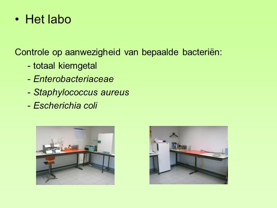 Het labo Controle op aanwezigheid van bepaalde bacteriën: