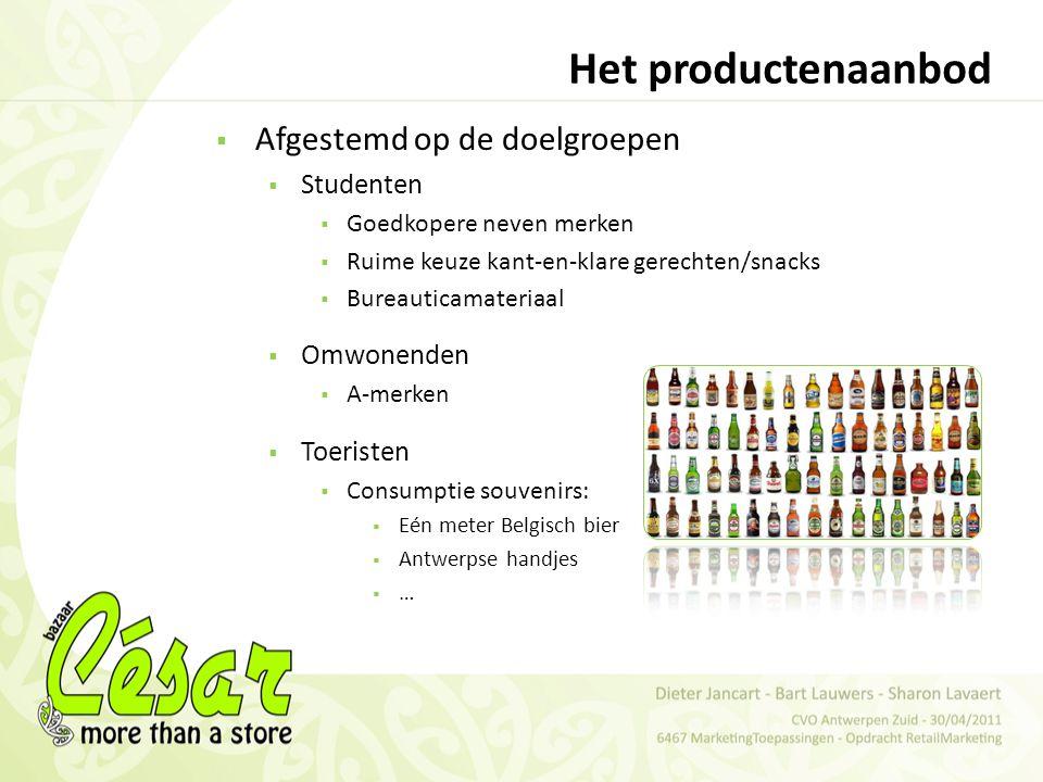 Het productenaanbod Afgestemd op de doelgroepen Studenten Omwonenden