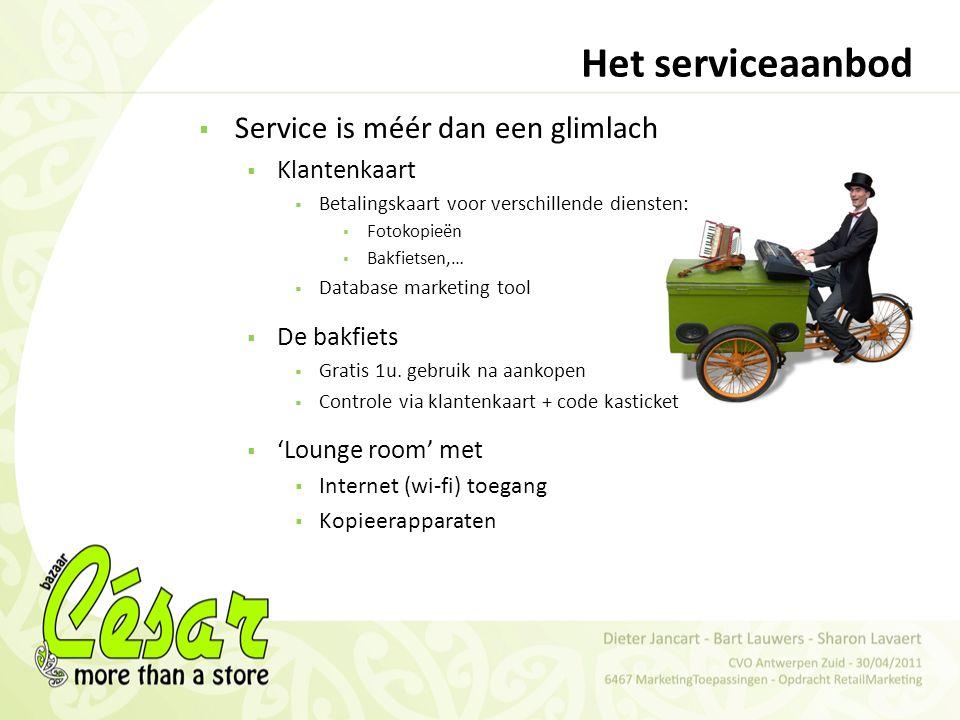 Het serviceaanbod Service is méér dan een glimlach Klantenkaart