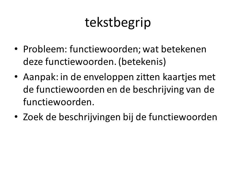 tekstbegrip Probleem: functiewoorden; wat betekenen deze functiewoorden. (betekenis)