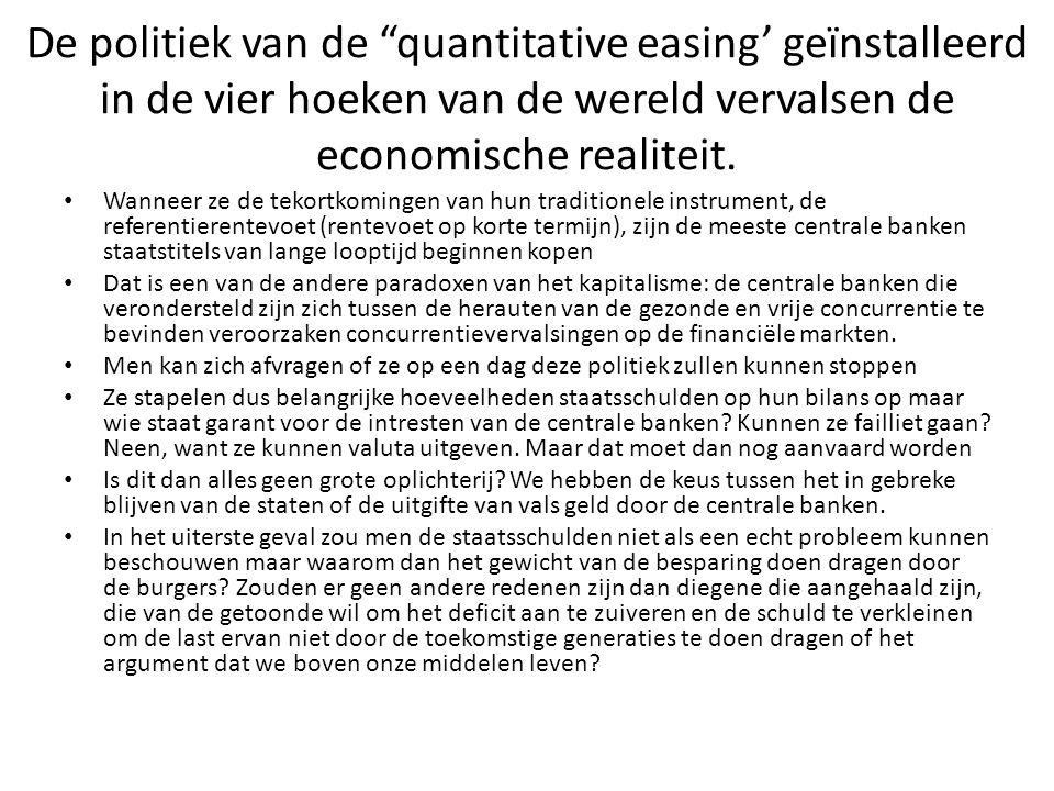 De politiek van de quantitative easing' geïnstalleerd in de vier hoeken van de wereld vervalsen de economische realiteit.