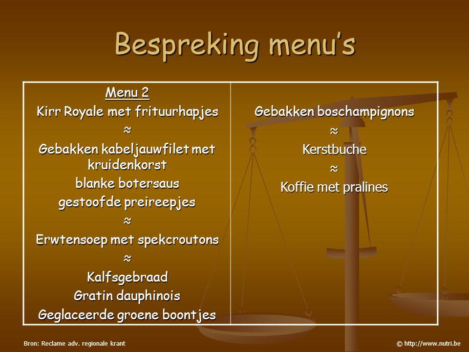 Bespreking menu's Menu 2 Kirr Royale met frituurhapjes ≈