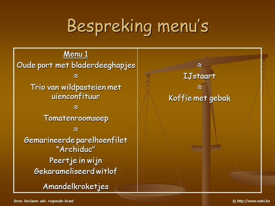 Bespreking menu's Menu 1 Oude port met bladerdeeghapjes ≈