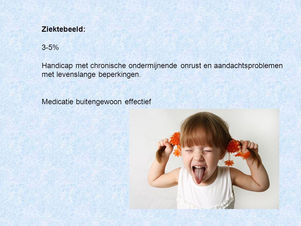 Ziektebeeld: 3-5% Handicap met chronische ondermijnende onrust en aandachtsproblemen met levenslange beperkingen.