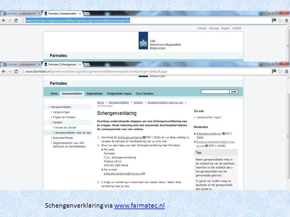 Schengenverklaring via www.farmatec.nl