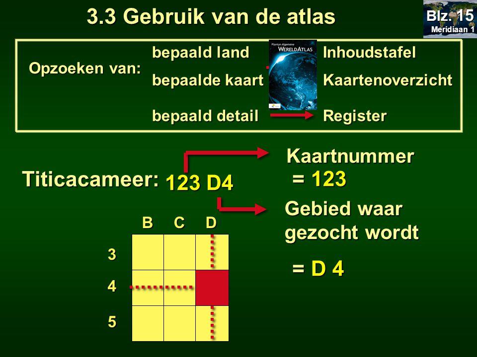 3.3 Gebruik van de atlas Titicacameer: = 123 123 D4 = D 4 Kaartnummer