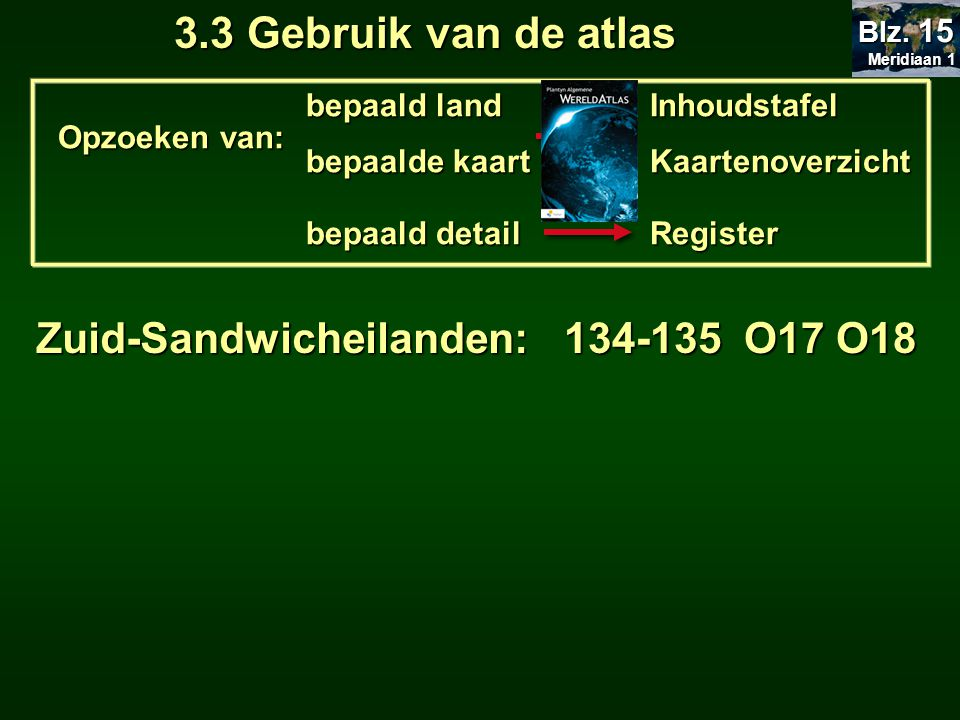 3.3 Gebruik van de atlas Zuid-Sandwicheilanden: 134-135 O17 O18