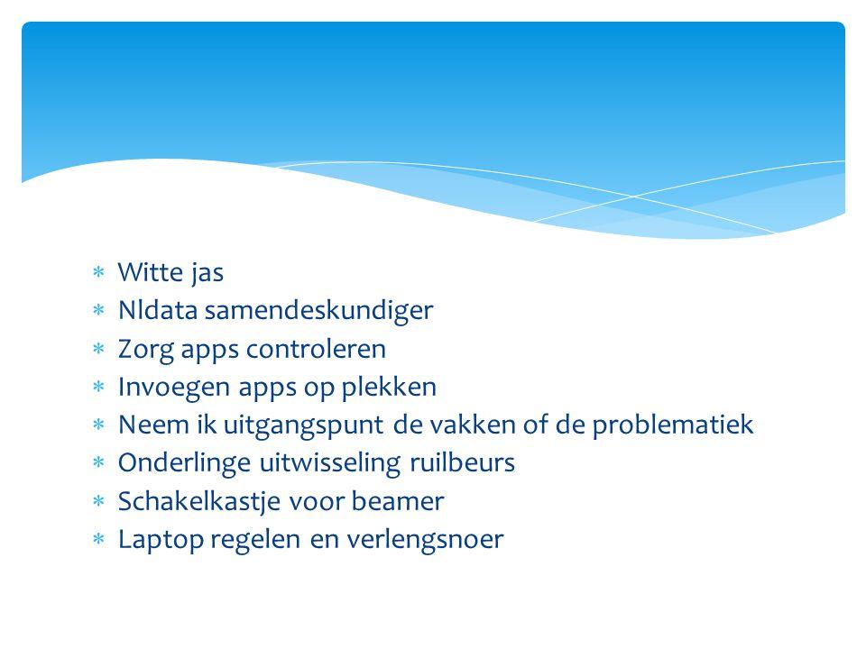 Witte jas Nldata samendeskundiger. Zorg apps controleren. Invoegen apps op plekken. Neem ik uitgangspunt de vakken of de problematiek.