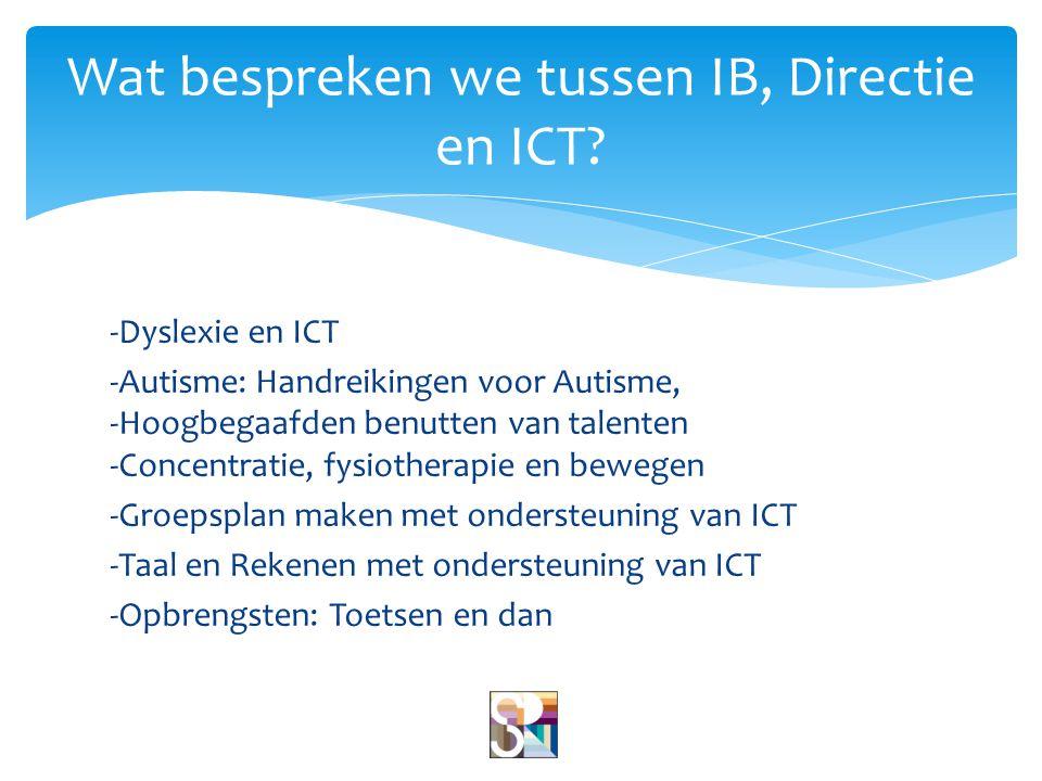 Wat bespreken we tussen IB, Directie en ICT