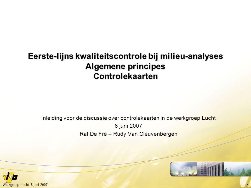 Eerste-lijns kwaliteitscontrole bij milieu-analyses Algemene principes Controlekaarten
