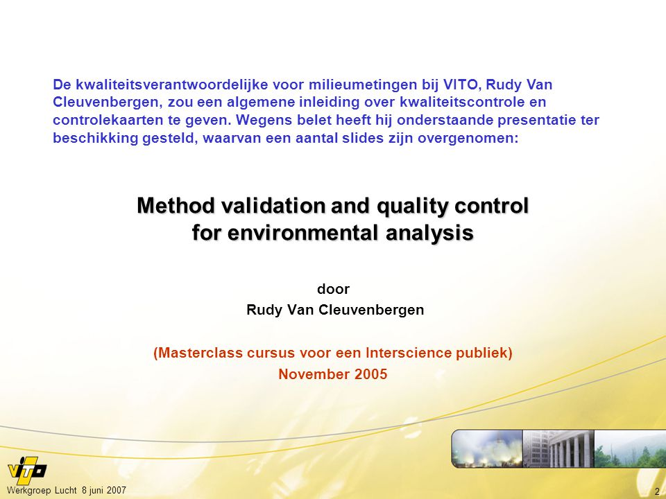 Method validation and quality control for environmental analysis