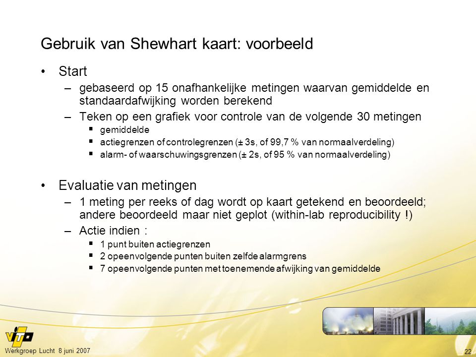 Gebruik van Shewhart kaart: voorbeeld