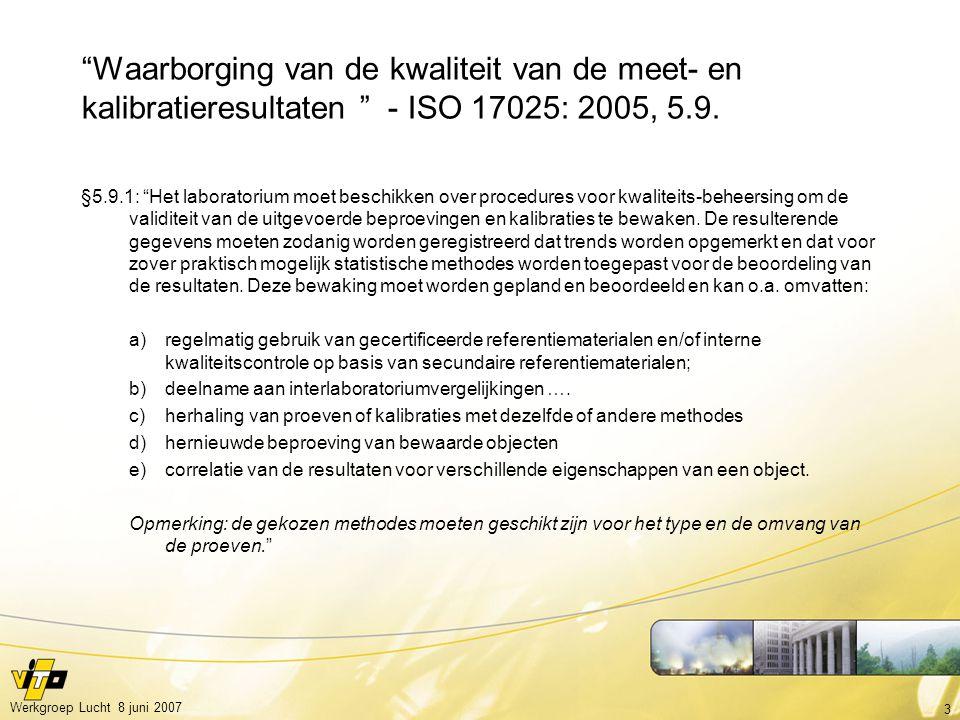 Waarborging van de kwaliteit van de meet- en kalibratieresultaten - ISO 17025: 2005, 5.9.