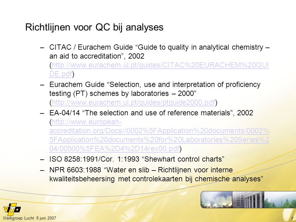 Richtlijnen voor QC bij analyses