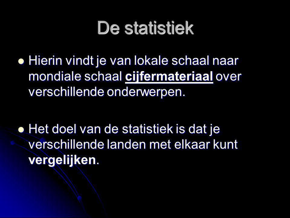 De statistiek Hierin vindt je van lokale schaal naar mondiale schaal cijfermateriaal over verschillende onderwerpen.