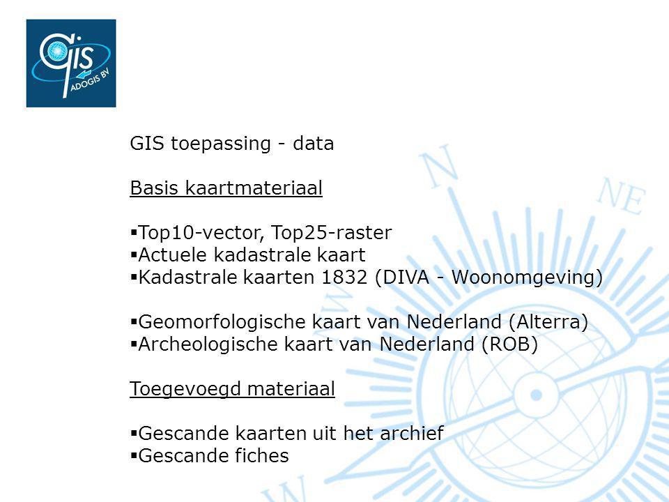 GIS toepassing - data Basis kaartmateriaal. Top10-vector, Top25-raster. Actuele kadastrale kaart.
