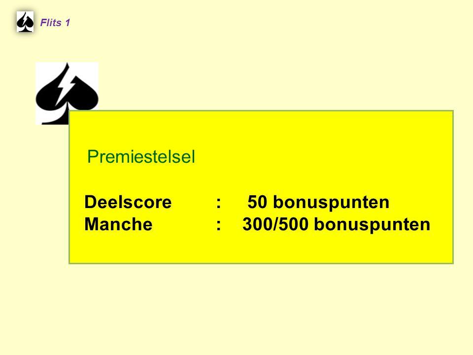 Premiestelsel Deelscore : 50 bonuspunten Manche : 300/500 bonuspunten