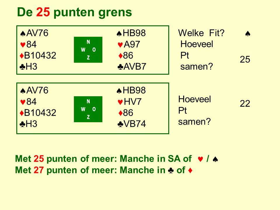 De 25 punten grens AV76 HB98 84 A97 ♦B10432 ♦86 ♣H3 ♣AVB7