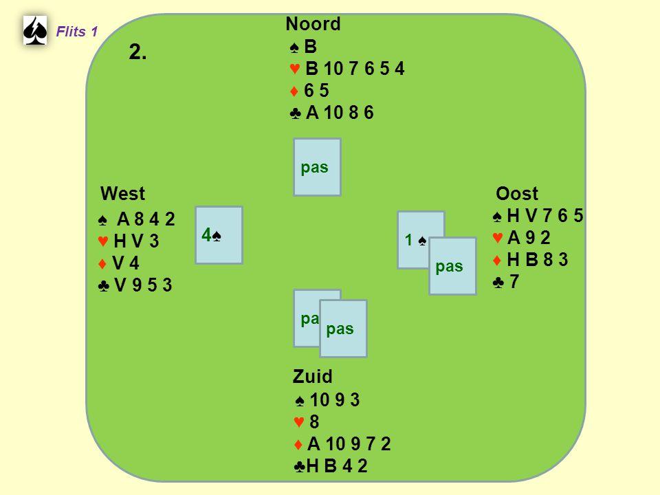 West Noord 2. Zuid ♠ B ♥ B 10 7 6 5 4 ♦ 6 5 ♣ A 10 8 6 ♠ H V 7 6 5