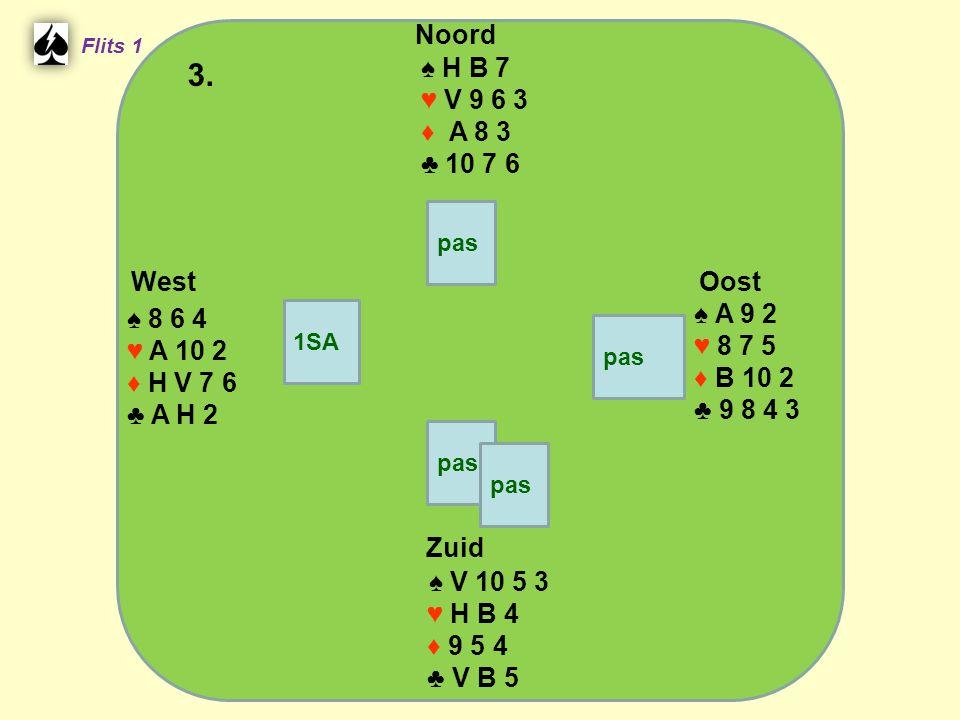 West Noord 3. Zuid ♠ H B 7 ♥ V 9 6 3 ♦ A 8 3 ♣ 10 7 6 ♠ A 9 2 ♠ 8 6 4