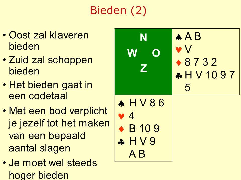 Bieden (2) N W O Z     A B V 8 7 3 2 H V 10 9 7 5 H V 8 6 4 B 10 9