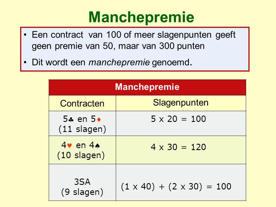 Manchepremie Een contract van 100 of meer slagenpunten geeft geen premie van 50, maar van 300 punten.