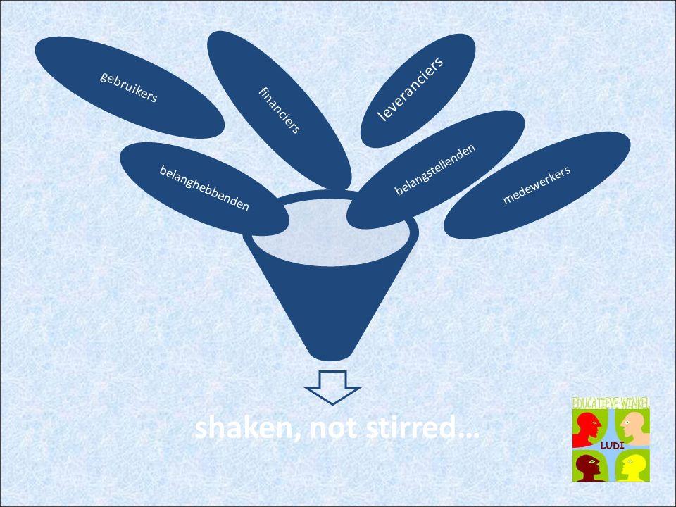 shaken, not stirred… leveranciers gebruikers financiers