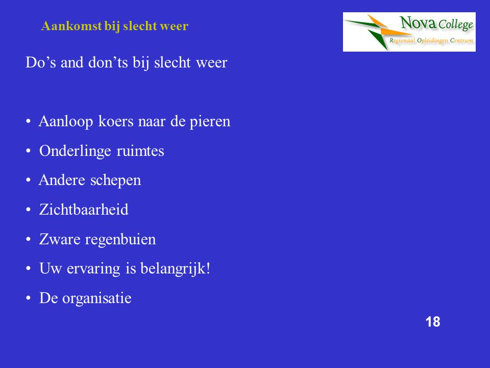 Do's and don'ts bij slecht weer