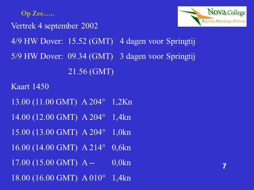 4/9 HW Dover: 15.52 (GMT) 4 dagen voor Springtij