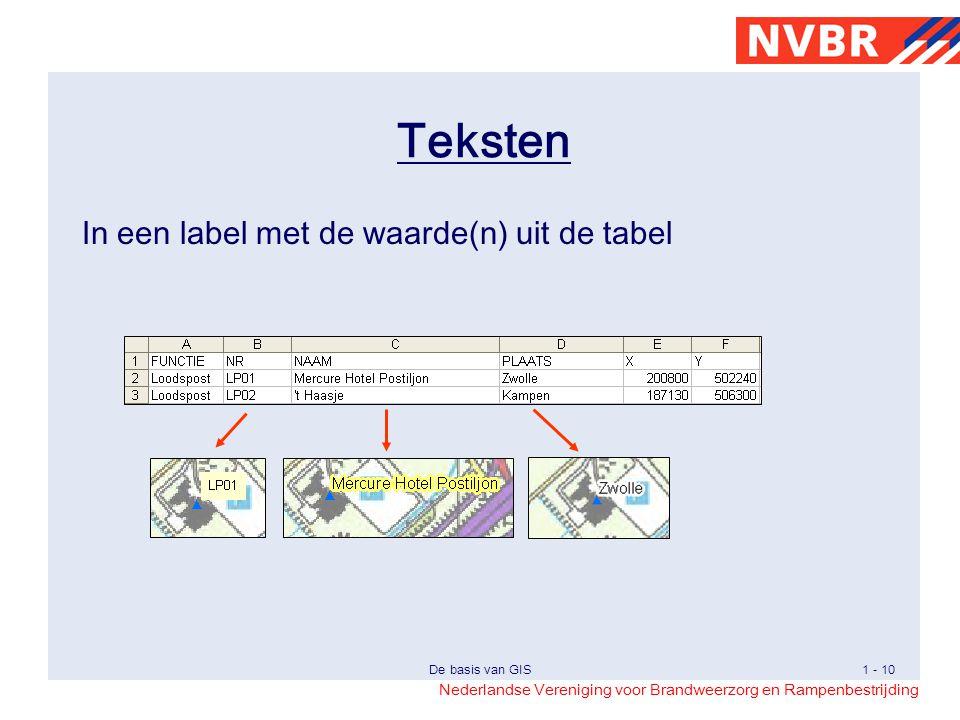 Teksten In een label met de waarde(n) uit de tabel