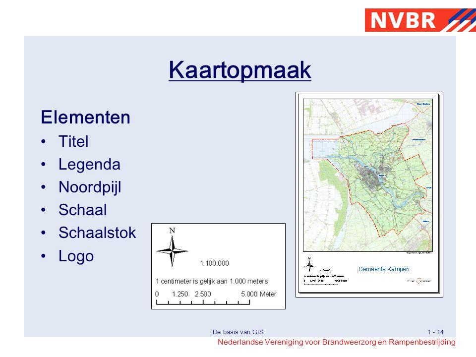 Kaartopmaak Elementen Titel Legenda Noordpijl Schaal Schaalstok Logo