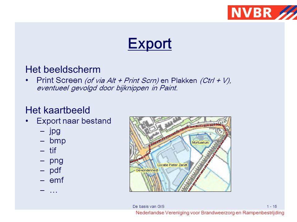 Export Het beeldscherm Het kaartbeeld