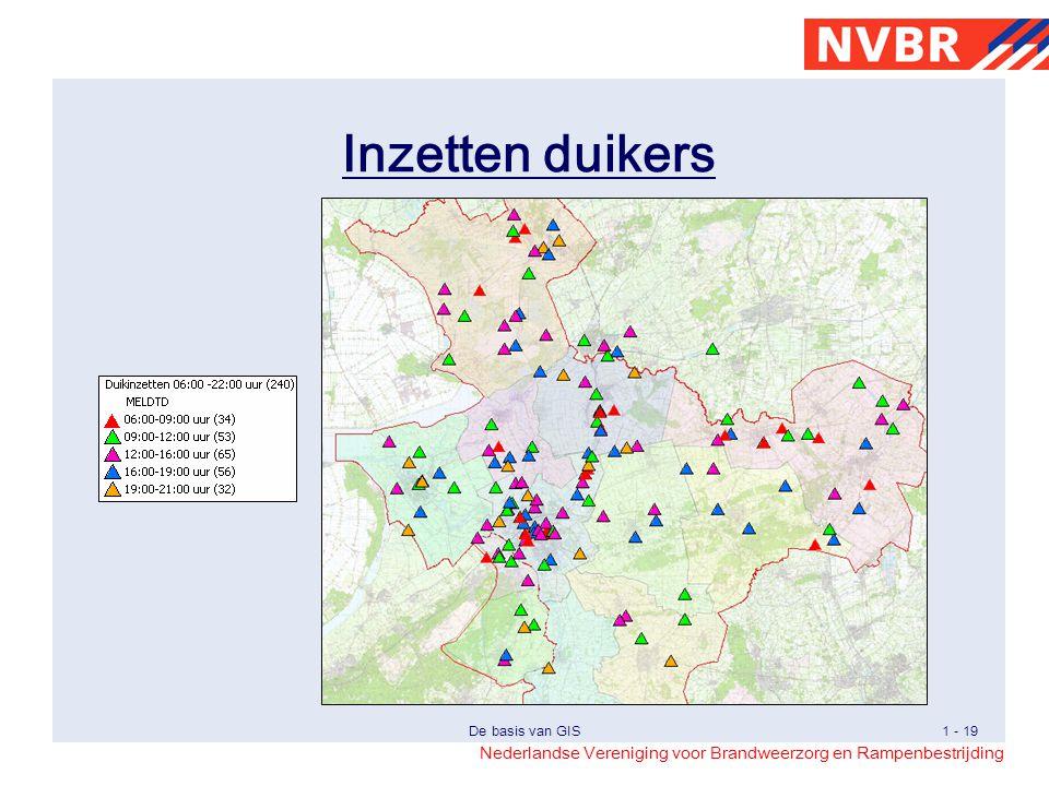 Inzetten duikers Visualisering van de inzetten van de duikers met indexering op het tijdstip van melding.