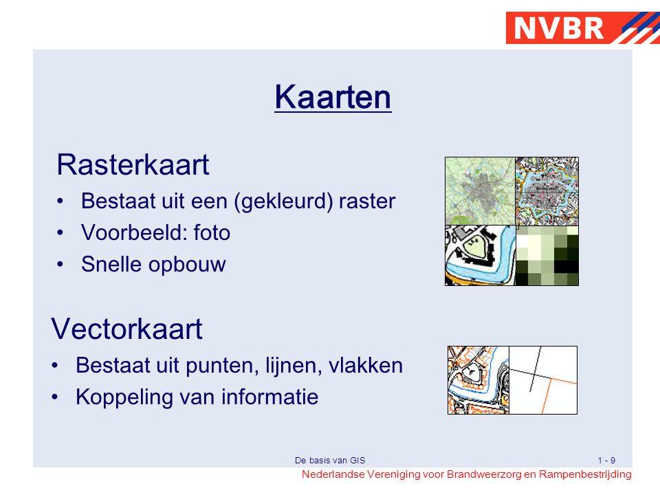 Kaarten Rasterkaart Vectorkaart Bestaat uit een (gekleurd) raster