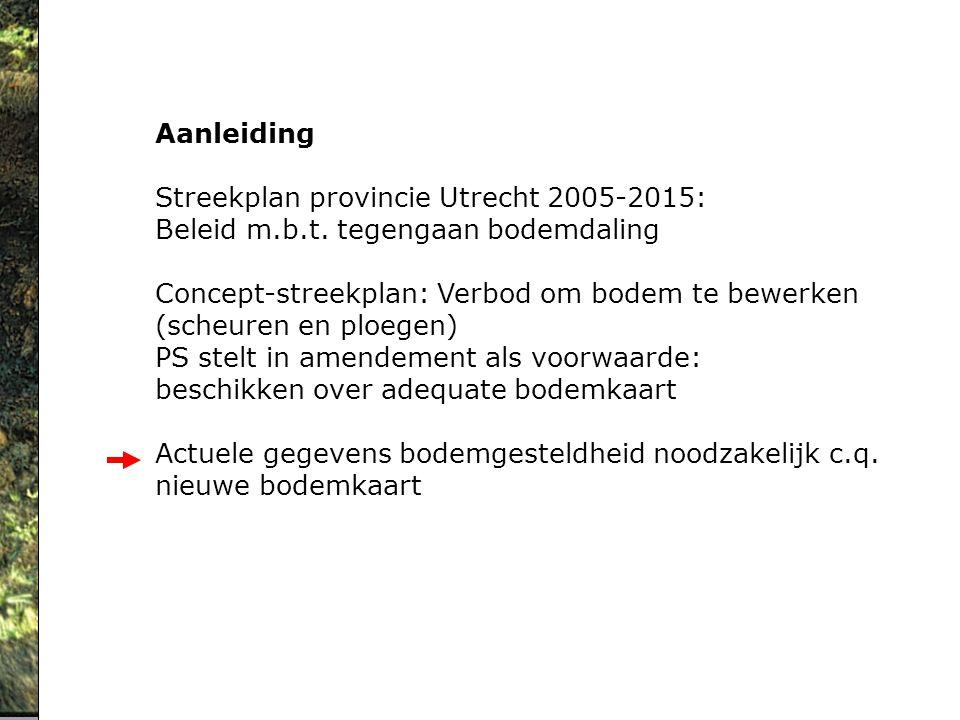 Aanleiding Streekplan provincie Utrecht 2005-2015: Beleid m.b.t. tegengaan bodemdaling.