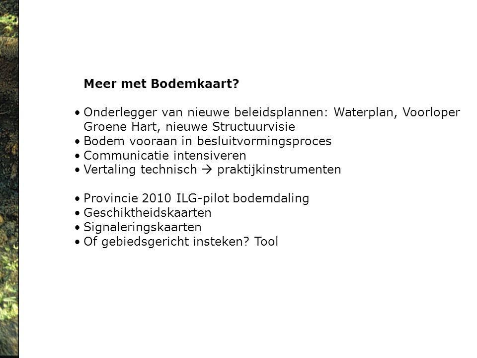 Meer met Bodemkaart Onderlegger van nieuwe beleidsplannen: Waterplan, Voorloper. Groene Hart, nieuwe Structuurvisie.