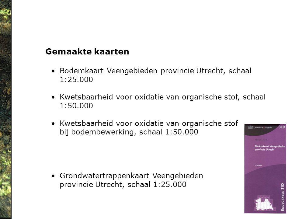 Gemaakte kaarten Bodemkaart Veengebieden provincie Utrecht, schaal 1:25.000. Kwetsbaarheid voor oxidatie van organische stof, schaal.