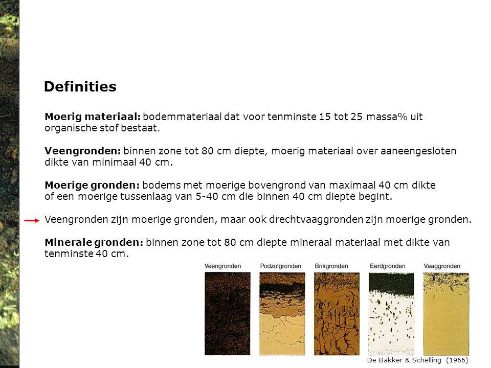 Definities Moerig materiaal: bodemmateriaal dat voor tenminste 15 tot 25 massa% uit. organische stof bestaat.