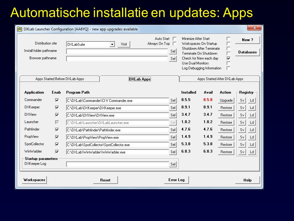Automatische installatie en updates: Apps