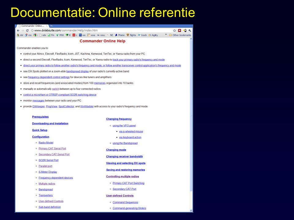 Documentatie: Online referentie
