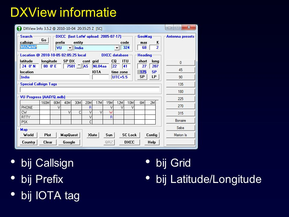 DXView informatie bij Callsign bij Prefix bij IOTA tag bij Grid