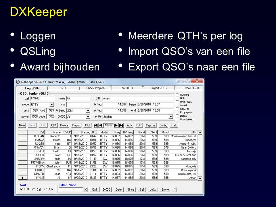 DXKeeper Loggen QSLing Award bijhouden Meerdere QTH's per log
