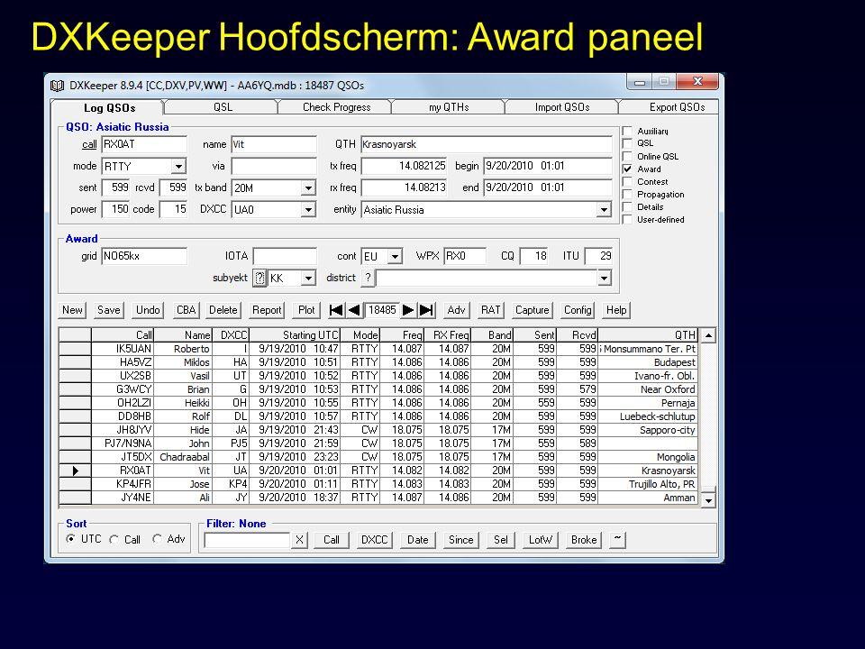 DXKeeper Hoofdscherm: Award paneel