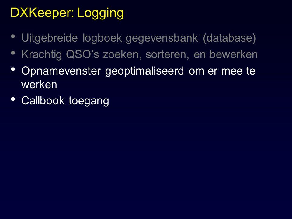 DXKeeper: Logging Uitgebreide logboek gegevensbank (database)