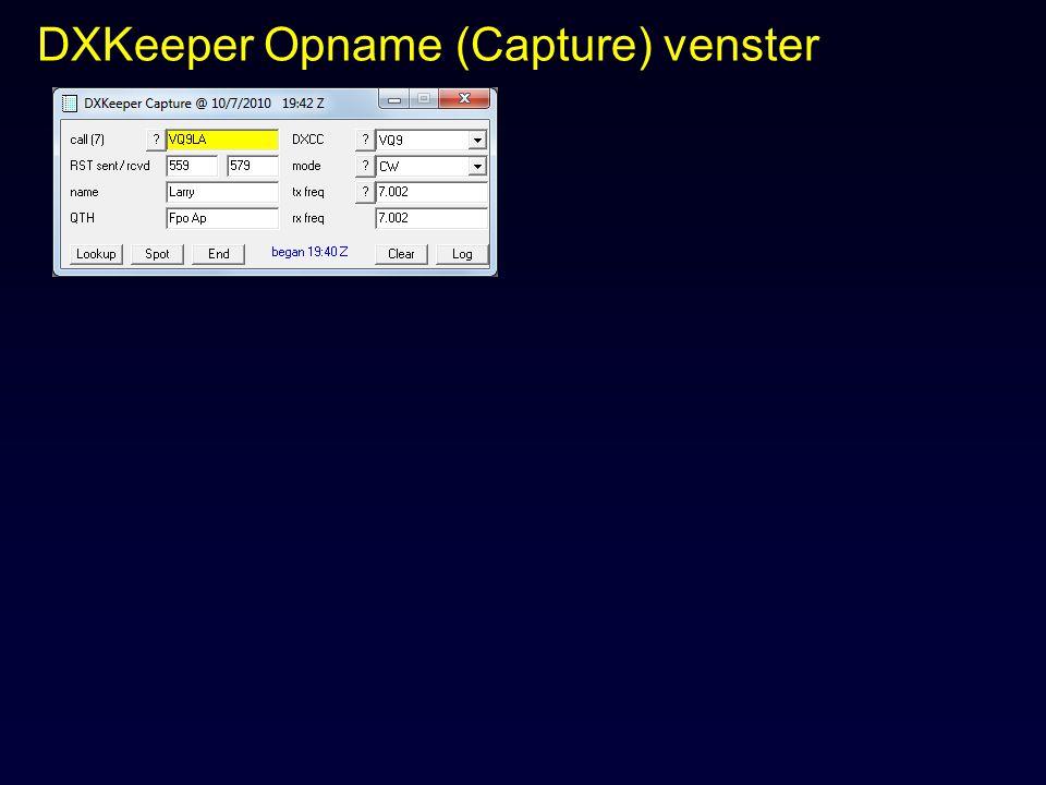 DXKeeper Opname (Capture) venster