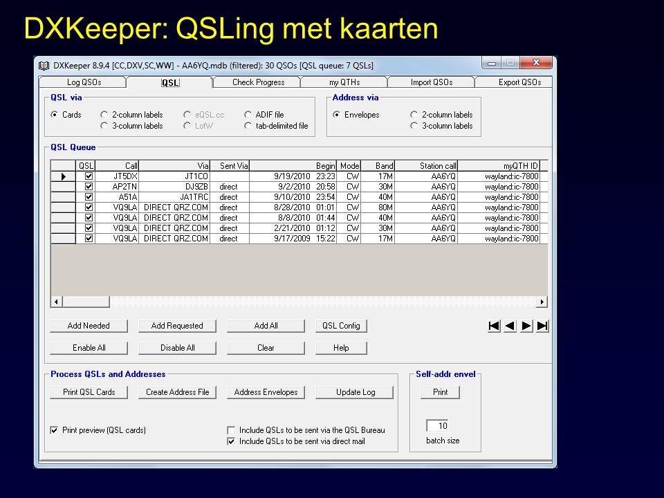 DXKeeper: QSLing met kaarten