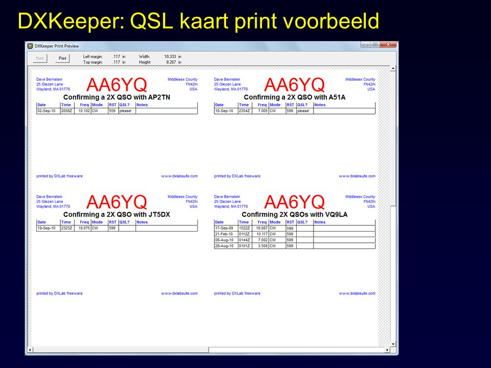 DXKeeper: QSL kaart print voorbeeld