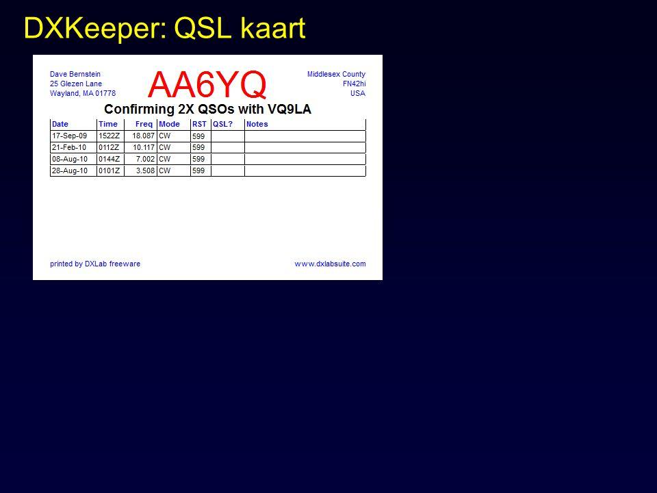 DXKeeper: QSL kaart