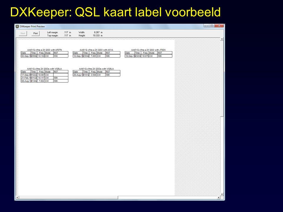 DXKeeper: QSL kaart label voorbeeld